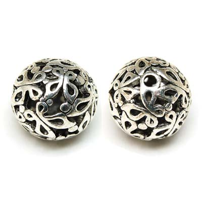 50 pcs antique silver hollow metal cast round beads 25mm