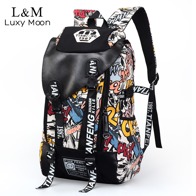 Graffiti Canvas Backpack Men Printing Backpacks Students School Rucksack Teenage Boys Large Laptop Travel Bag mochila XA233H hot casual travel men s backpacks cute pet dog printing backpack for men large capacity laptop canvas rucksack mochila escolar