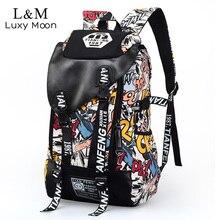 Graffiti Canvas Backpack Men Printing Backpacks Students School Rucksack Teenage Boys Large Laptop Travel Bag mochila XA233H