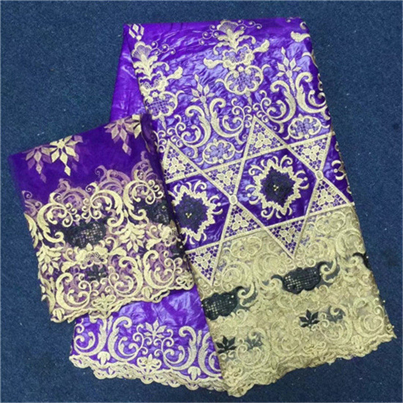 2018 New Design 5Yards+2Yards Beaded African Lace Fabric High Quality Purple Bazin Riche Getzner With French Net Lace Blouse
