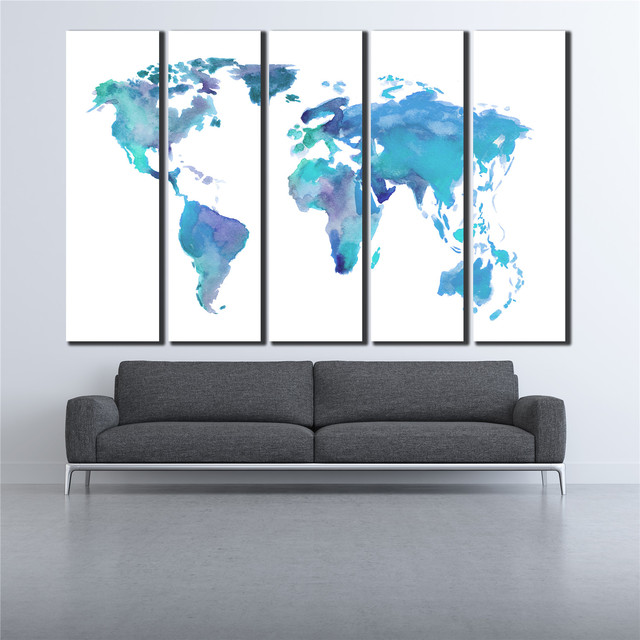 Wall art canvas oil painting blue and white world map poster 5 wall art canvas oil painting blue and white world map poster 5 pieces vintage map wall gumiabroncs Choice Image