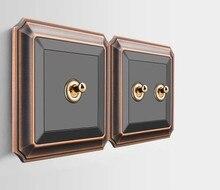 アンティーク黒壁スイッチ 86 型レトロトグルスイッチ 1 ギャング/2 ギャング/3 ギャング/4 ギャング 10A 110 V 250 V パネル真鍮レバー