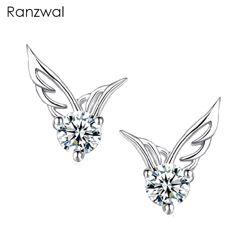 Ranzwal Ranzwal Store Ranzwal Cute Women 925 Sterling Silver Angel Wings Stud Earrings with Cubic Zircon Crystal Jewelry Gift AER008
