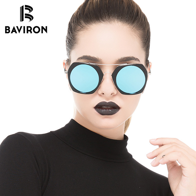 e983a79918 BAVIRON Round Mirrored Women Sunglasses Vintage Colorful Fashion Polarized  Sun Glasses Classic 2018 New Arrival Brand