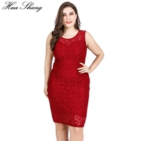 Red Lace Party Dress 2018 Women Summer O Neck Sleeveless Lace Floral Hollow Out Casual Dress 5xl 6xl Plus Size Pencil Dresses
