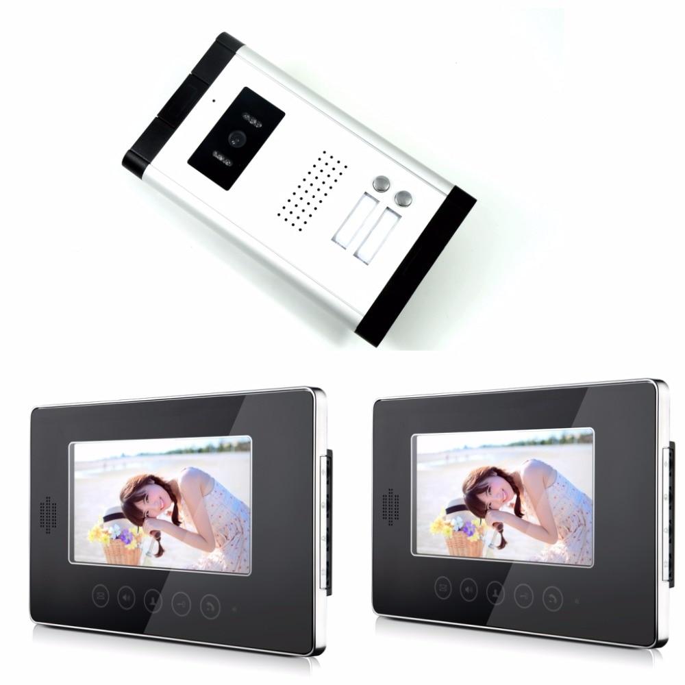 7 Безопасность Дверные звонки Камера сенсорный ключ видео домофон ночного просмотра Дверные звонки домофон Видеодомофоны 2 монитор + 1 Каме... ...