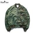 Camuflagem patchwork com decote em v dos homens streetwear jaqueta 2017 primavera deixa bordado hop jaquetas homens clothing preto verde