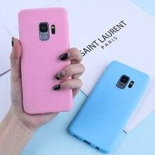 Couleur bonbon étui pour samsung Galaxy A7 2018 A6 A8 Plus 2018 A50 A3 A5 A7 2016 2017 Doux Étuis En Silicone TPU Mat Couvertures de Téléphone