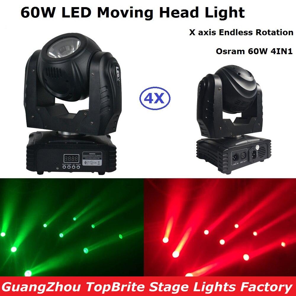4Pcs/Lot Mini LED Moving Head Light Disco DJ Party Nightclub Pub Bar KTV 60W RGBW Quad Color LED Moving Head Beam Lights цена 2017