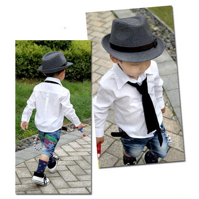 Moda HOT Bonito Kid Crianças Cavalheiro Chapéu de Lã Cap Headwear Cinza/Preto 19ING