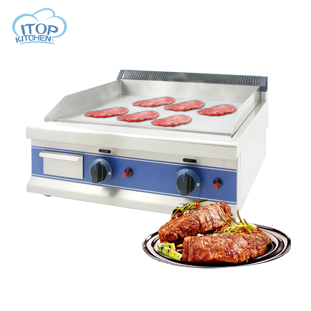 ITOP DGT-600 Gas griddle BBQ stainless steel 201 LPG 2 burners flat hot plate thickness 12mm