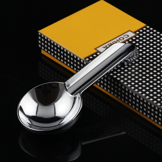 COHIBA Stainless Steel Gloss Car Cigar Ashtray Portable Cigar Holder Ashtrays With Single Rest Ash Slot Gift Box Packaging