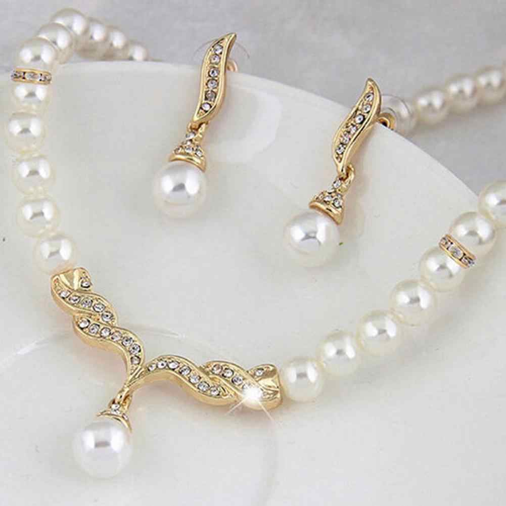 Bridal Women Necklace Faux Pearl Rhinestone Charms Wedding Earrings Jewelry Set new