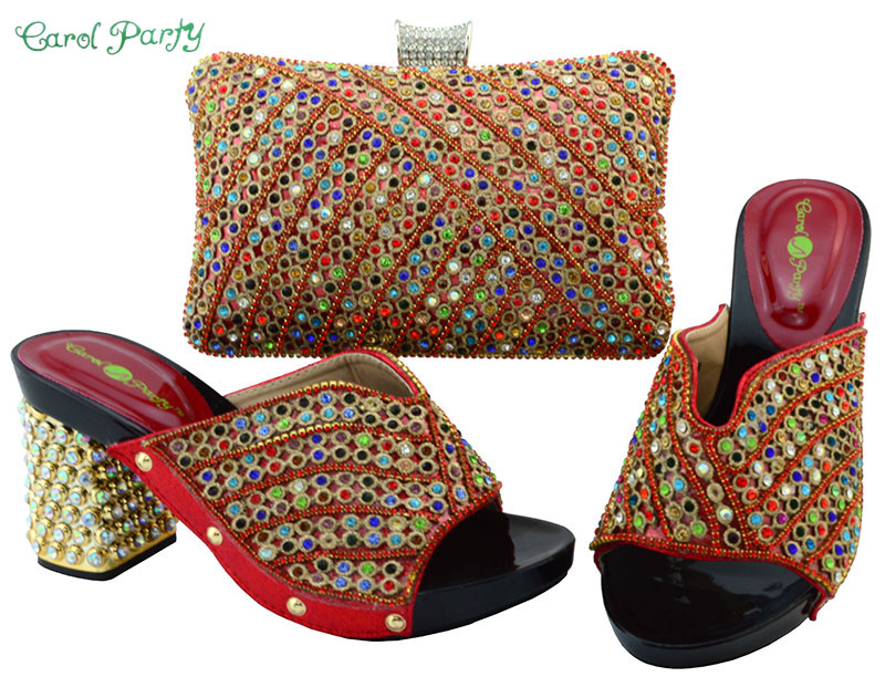 African Fashion Red Color Shoes and Bag Set Decorated with Rhinestone Nigerian Shoes and Bag Set for Women YM005 characteristic floral and butterfly shape lace decorated body jewelry for women
