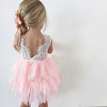 B&N Blackless Tutu Children's Dresses Summer Floral Girl Dress Delicate Lace Children's Dresses Baby Girl Clothes