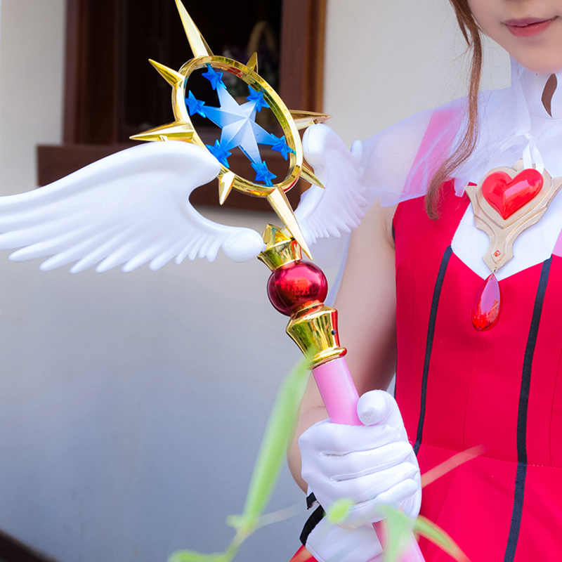 114 cm Long Sakura Card Captor Baguette Magique avec La Lumière Option Clair Carte Kinomoto Sakura Magic Star Baguette Anime Cosplay accessoires Arme