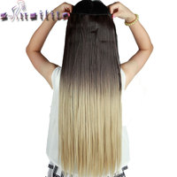 S Noilite 64CM Ombre Colored Synthetic Hair Extensions 5Clips Long Clip In Hairpiece Wigs Heat Resistant