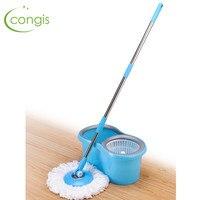 Congis  A Set  Easy Magic Floor Mop 360 Bucket Microfiber Spin Spinning Rotating Head Magic Mops Set Bathroom Cleaning Tool Mops Home & Garden -