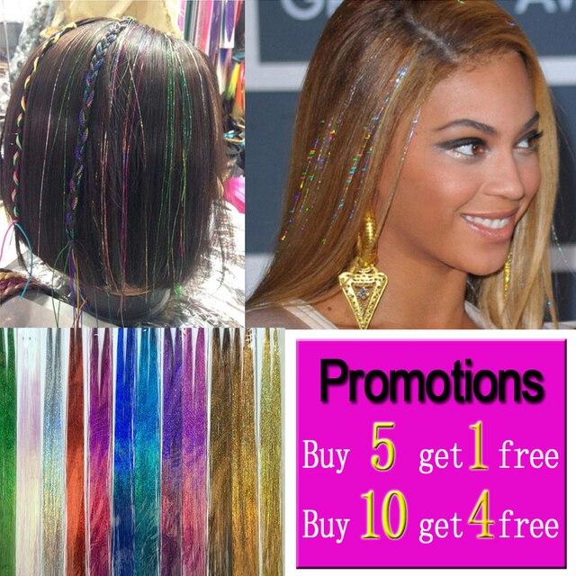 Brillo pelo oropel Bling pelo Secoration para extensión de cabello sintético brillo del arco iris para las niñas de fiesta y 100 cm 150 hilos /piezas