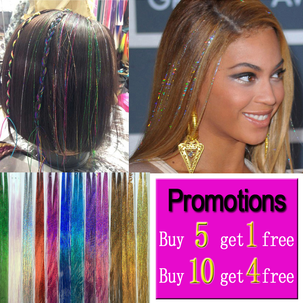 Synthetic Clip-in One Piece Synthetic Extensions Leeons Hair Green Purple 16inch Sparkel Synthetic Clip In One Piece Hair Bling Rainbow Silk Hair Tinsel Synthetic Hair Extension