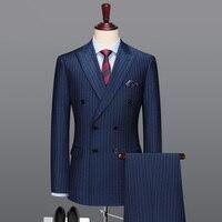 100% шерсть двубортный мужской костюм темно синие полосатые повседневные мужские костюмы с брюками свадебные костюмы жениха 2019 Для стройных