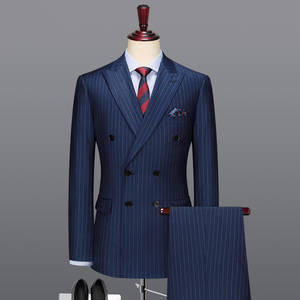 Men Suit Groom Wedding Double-Breasted Pants Blazer Slim-Fit Striped Wool with Deep-Blue