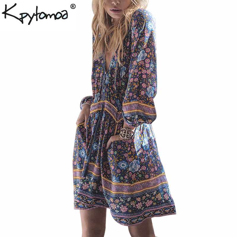 8bfe3db321 Boho Chic Vintage Floral Print Pockets Mini Dress Women 2019 Fashion V Neck  Summer Beach Holiday