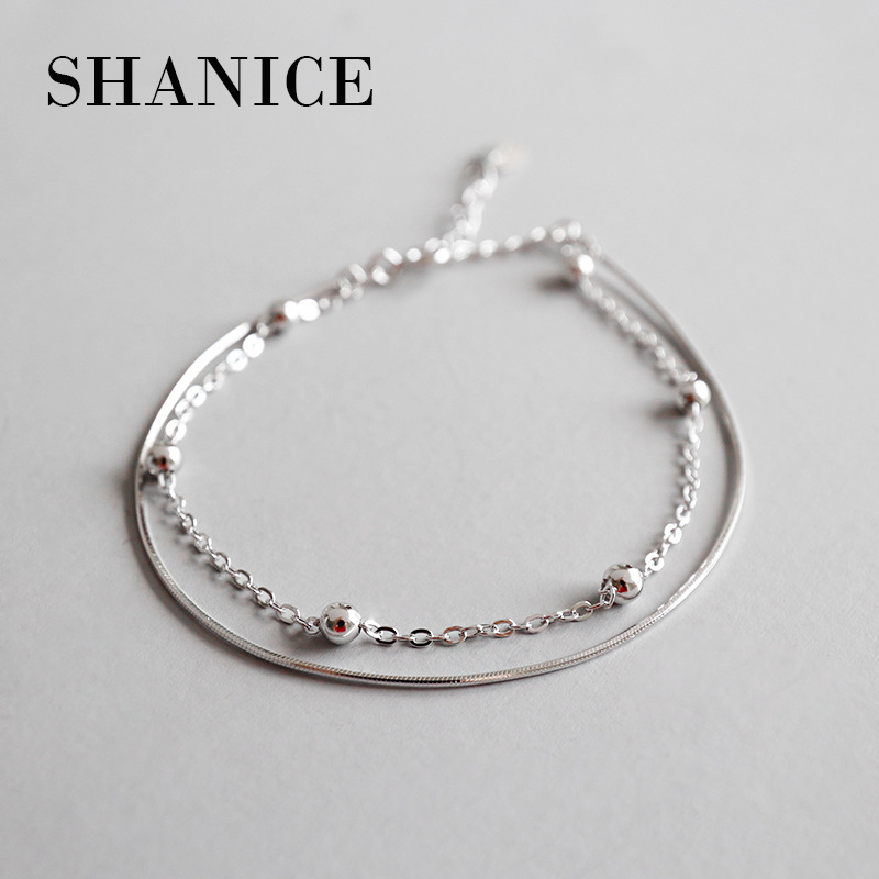SHANICE Christmas SALE Authentic 100% 925 Sterling Silver Round Bead Snake Chain Double Layer Bangle & Bracelet Luxury Jewelry
