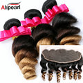Ali Pearl Hair 1b/4/27 Ombre Brazilian Loose Wave Lace Frontal Closure With Bundles Virgin Ombre Human Hair With 13x4 Frontal