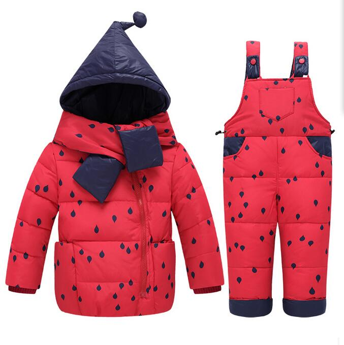 2017 children Winter fashion jackets+pants suit sets Infant boys girls baby inverno clothing girls White duck down clothes suits boys fleece jackets solid coat kid clothes winter coats 2017 fashion children clothing
