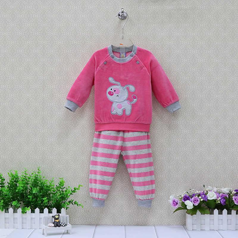 0d4d842ff Baby Velour Long Sleeve Blouse+Striped Pants 2 Pieces/Set Girls Clothing Set  Autumn