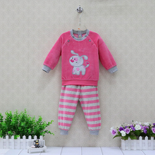 Baby Velour Long Sleeve Blouse+Striped Pants 2 Pieces/Set Girls Clothing Set Autumn Newborn Sleep Clothes Sets Boys Overalls