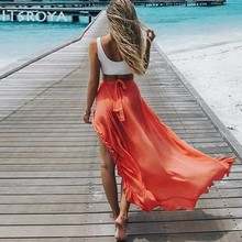Itsroya Vrouwen Sexy Hoge Taille Perspectief Chiffon Rok Cover Up Summer Zonnejurk Chiffon Strand Dames Rokken
