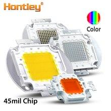 Hontiey 45mil عالية الطاقة LED رقاقة مصباح متكامل أزرق برتقالي وردي أخضر أصفر أحمر الطيف الكامل الأبيض 10 واط 20 واط 30 واط 50 واط 100 واط