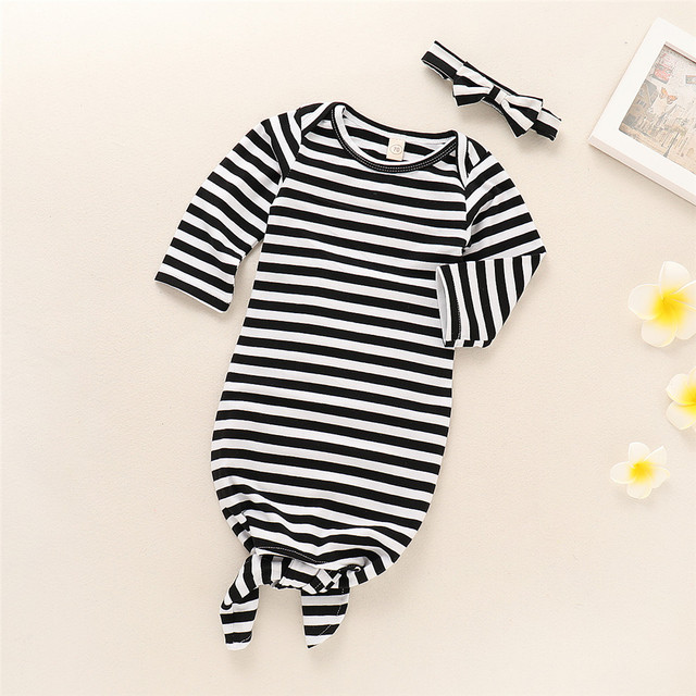 Newborn Toddler Baby Boys Girls Long Sleeve Striped Sleeping Bag + Bow Headband 2PCS Cotton Clothes Set
