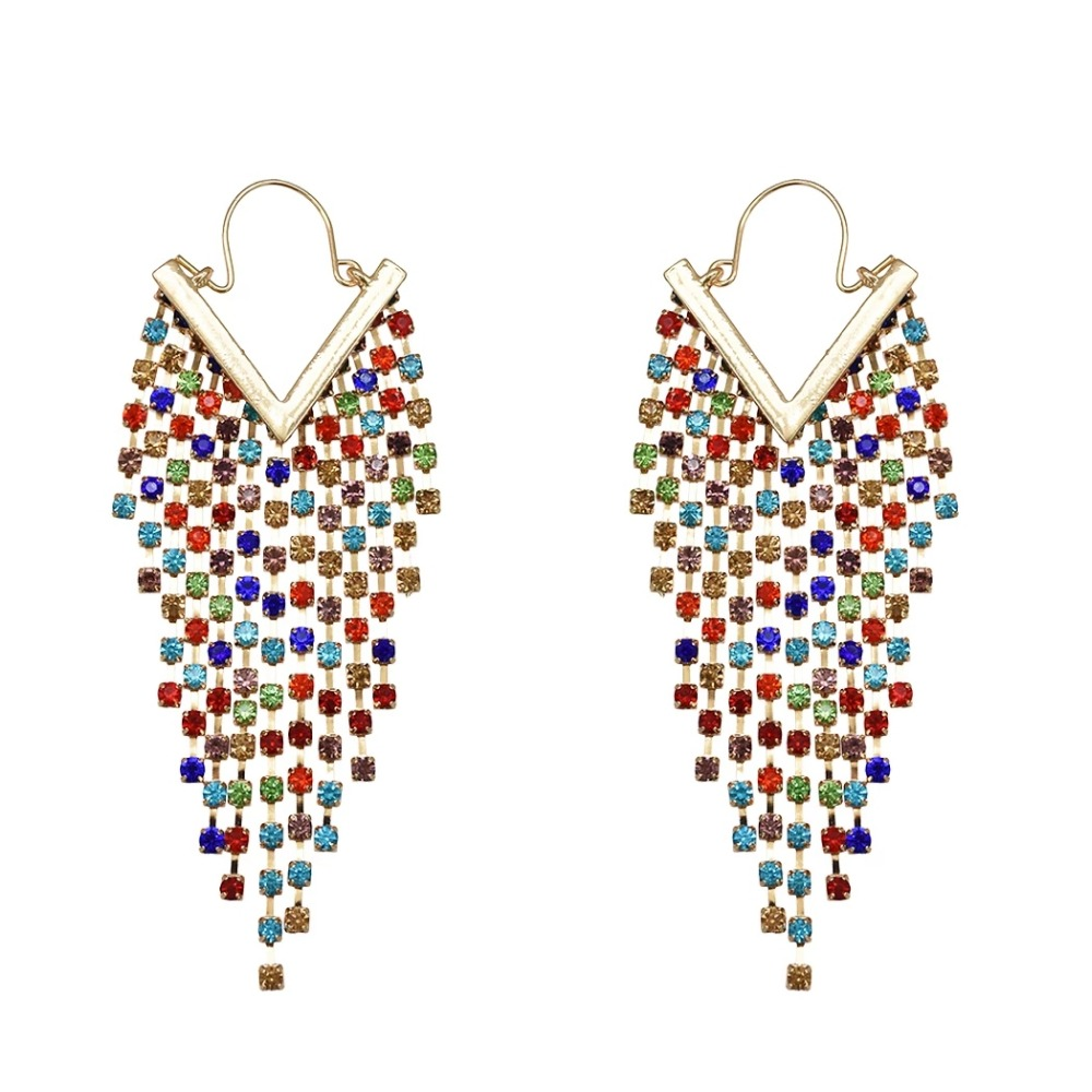 New Design Gold Silver Colorful Black Full Shiny Crystal Rhinestone Long Tassel Dangle Drop Earrings For Women Party Jewelry in Drop Earrings from Jewelry Accessories