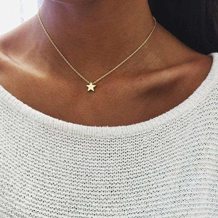 Ahmed, простое ожерелье с подвеской в виде звезды и Луны для женщин, новинка, Bijoux Maxi, массивное ожерелье, модное ювелирное изделие - Окраска металла: Gold