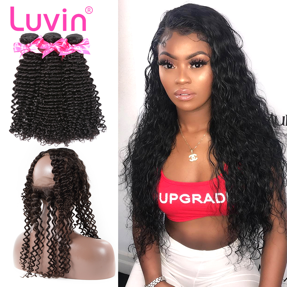 <font><b>Luvin</b></font> Hair <font><b>Deep</b></font> <font><b>Wave</b></font> Human Remy Hair Bundle With Closure Brazilian Hair 3 Bundles With 360 Lace Frontal Pre-Plucked <font><b>Deep</b></font> Curly image