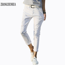 ZHANGCHUNHUA three/4 pants For Men Cotton Black/ White Hole Casua Jean Men garments Jeans Stretch Ripped Jeans For Men
