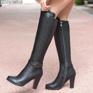 Image 1 - 2020 fashion high heels women knee high boots pu leather office ladies dress shoes spring autumn boots woman big size 34 43