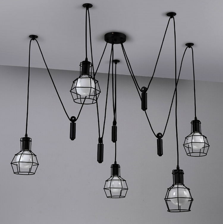 Vintage Pendant Light Industrial Lights Cage Lamp Loft Suspension Spider Lamp Home Decor Lighting Living Room Rope Lamp цена