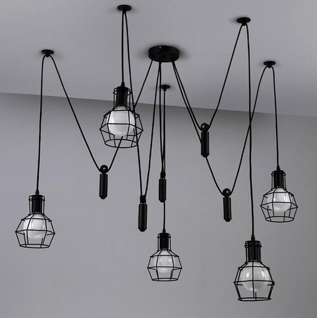 industrial cage lighting. Vintage Pendant Light Industrial Lights Cage Lamp Loft Suspension Spider Home Decor Lighting Living Room K
