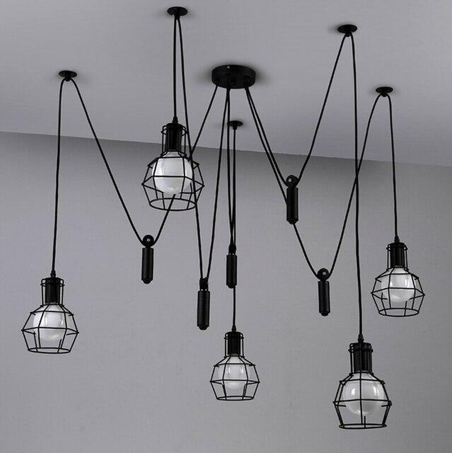 vintage wisiorek wiat o lampy wiat a przemys owych klatka lampa loft zawieszenie paj k wystr j. Black Bedroom Furniture Sets. Home Design Ideas