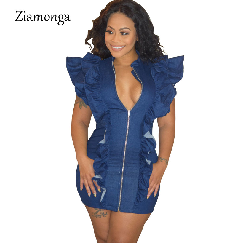 Ziamonga Sexy Summer Denim Dress 2019 Women Ruffles Sleeve Casual Work Streetwear Party Ladies Dress Elegant Bandage Robe Femme Relieving Heat And Sunstroke Women's Clothing