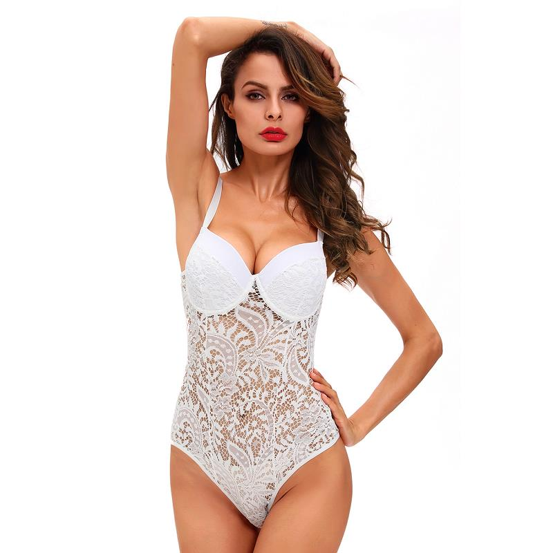 ADEWEL Sexy Women Spaghetti Strap Lace Bodysuit See Through Skinny Body Jumpsuit Ladies Romper Combinaison Shorts Playsuits (11)