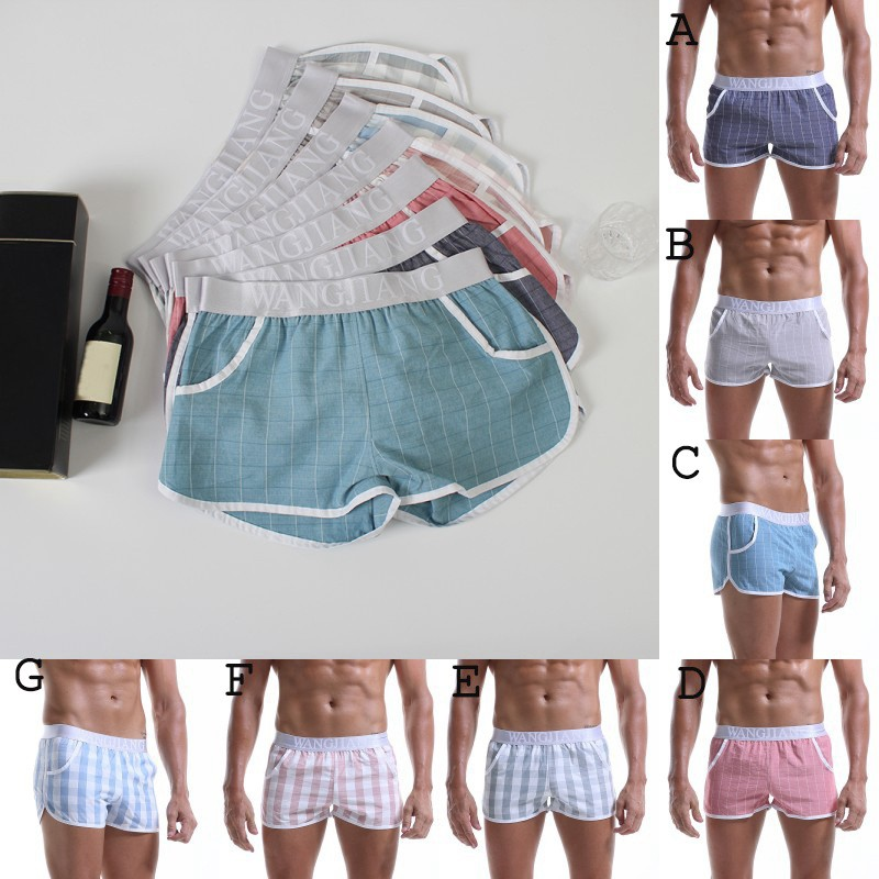 2019 Men Shorts Men's Sleepwear Cotton Breathable Loose Boxer Shorts Men's Underpants Home Shorts
