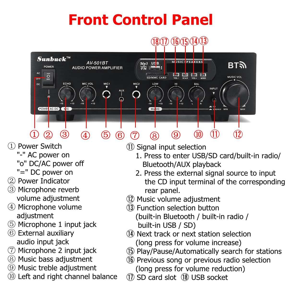 1200 Вт 220 В/110 в аудио усилитель мощности bluetooth 2,0 hifi динамик 4 микрофона дистанционное управление Поддержка FM USB SD карты bluetooth