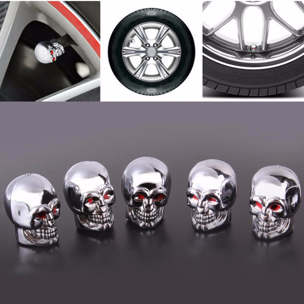 Green Abfer Air Tire Vale Cap Skull Shape Car Valve Stem Caps Replacement Covers with Big Tooth Fit Most Vehicle Truck Motorcycles Bikes