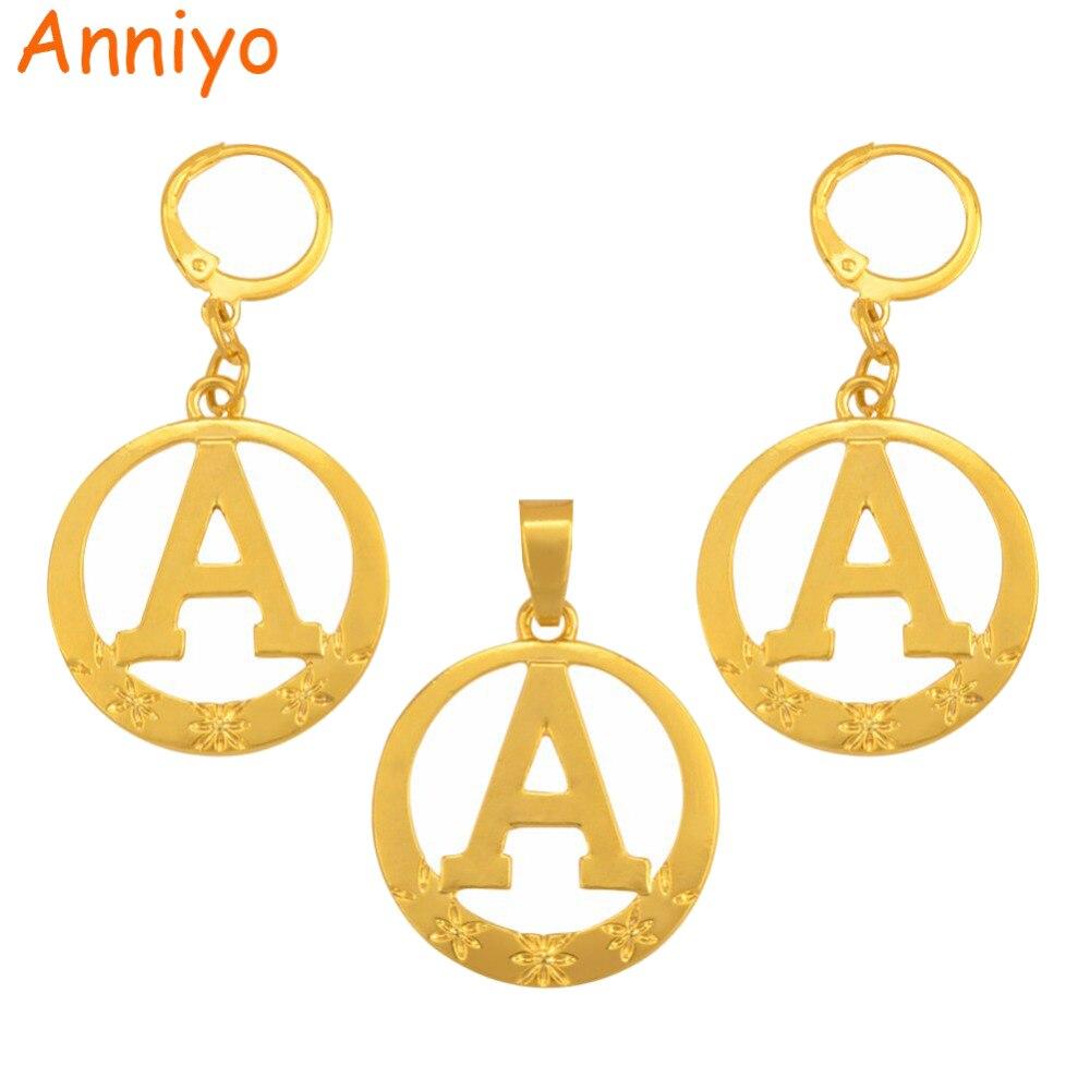 Anniyo A Bis Z Alphabet Anhänger Ohrringe Für Frauen Gold Farbe Initial Runde Englisch Brief Schmuck Geschenke (nicht Kette) #105106 P Zur Verbesserung Der Durchblutung
