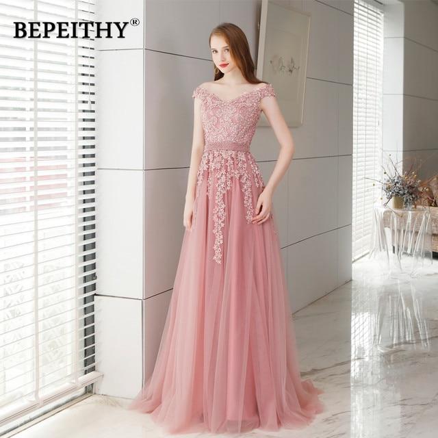 Abendkleider Pink Long Lace Evening Dress With Pearls Vestido De Festa Vintage Prom Dresses Party Elegant 2019 Vestido Longo